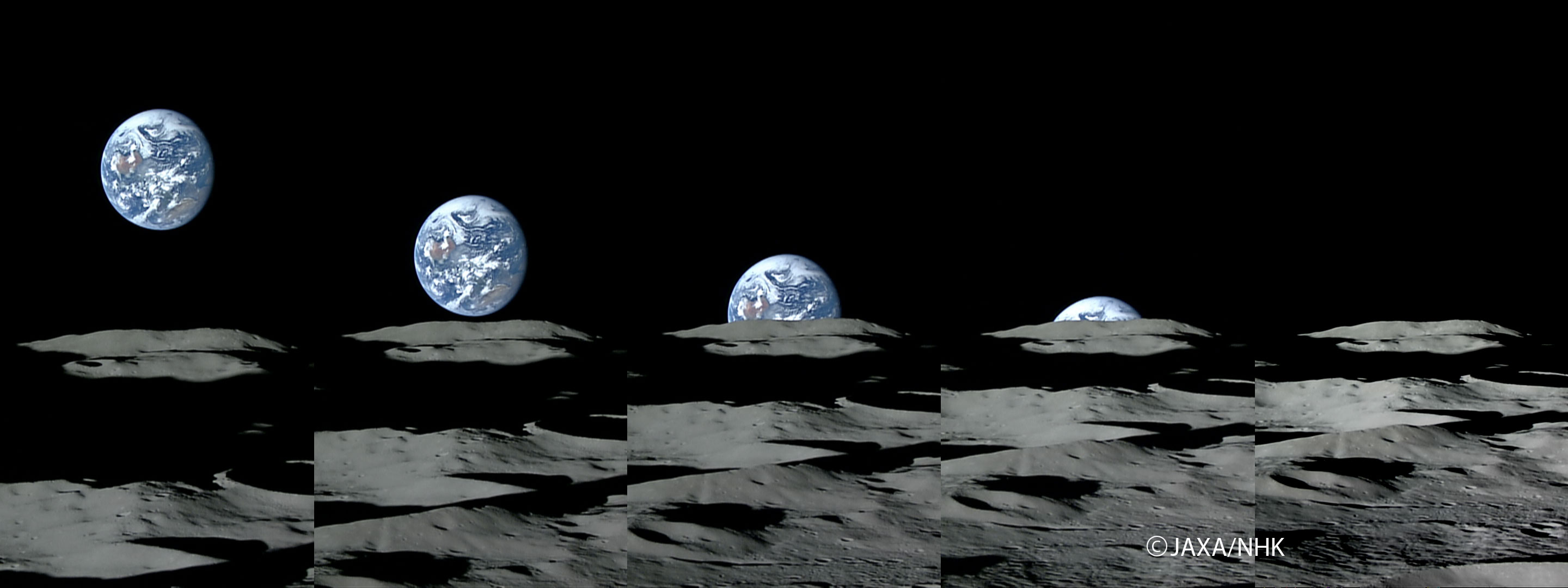 From the moon's perspective, seen here, the moon's shadow...  The Apollo astronauts captured shots of Earth rising on...
