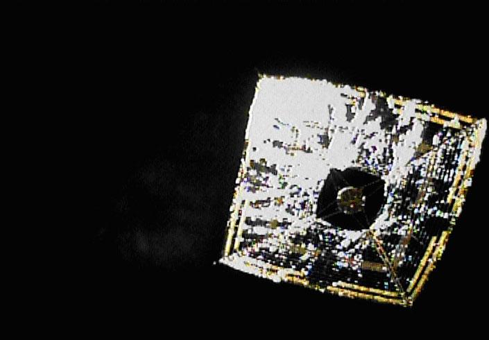"""JAXA's IKAROS Solar Sail seen from the """"separation camera"""""""