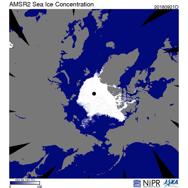 北極海の海氷面積が9月21日に2018年の最小値を記録(地球が見える 2018年)