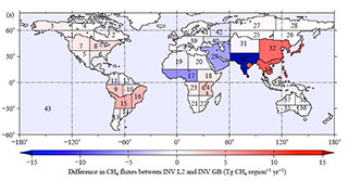 「いぶき」の観測データを用いた全球の月別メタン収支の推定結果