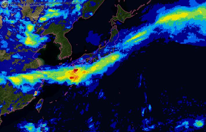 図1:2020年7月5日(日本時間)の衛星全球降水マップ(GSMaP)による日降水量の分布