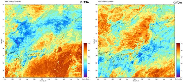 図1 気候変動観測衛星「しきさい」による2018年(左)と2019年(右)の7月上旬(1日から10日までの10日間)平均の光合成有効放射(単位Ein/m2/day)。